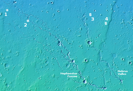 Overview of the pits in Hephaestus Planitia