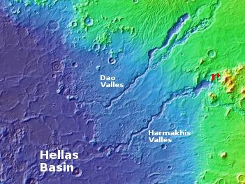 glaciers east of Hellas basin