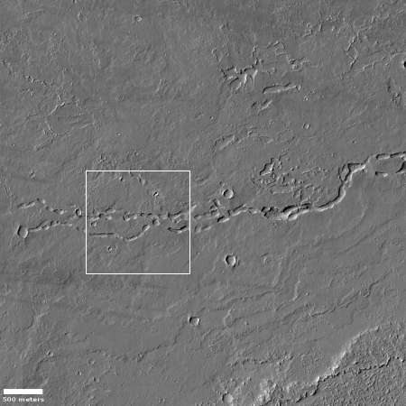 Discontinuous channel near Olympica Fossae