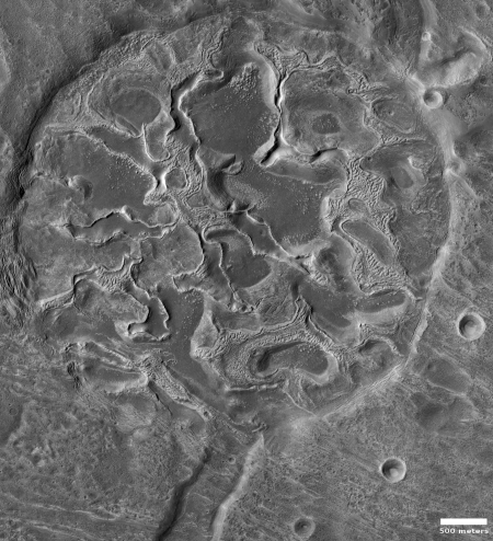 weird glacial feature in crater on Mars