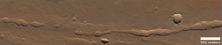 Collapse channels in Ceraunius Fossae