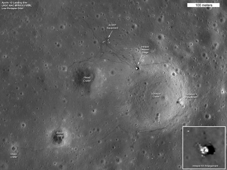 The Apollo 12 landing site on the Moon