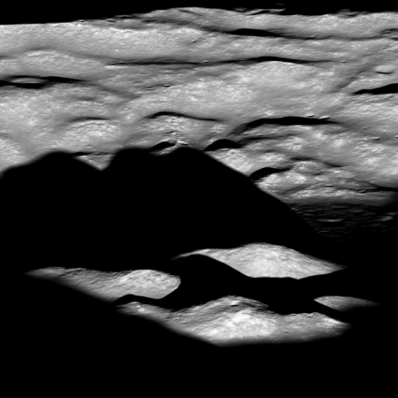 Central peaks of Bhabha Crater at dawn