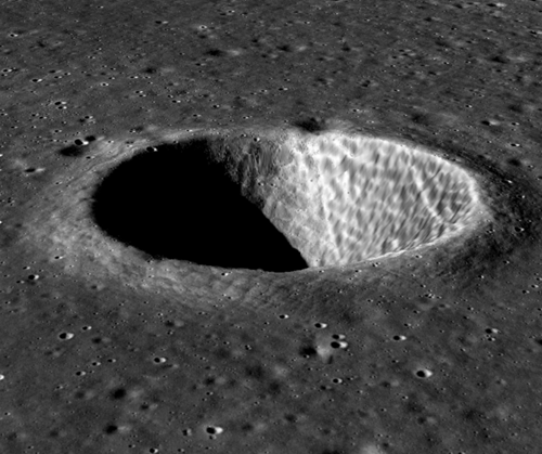3D view of Lindbergh Crater by Chandrayaan-2