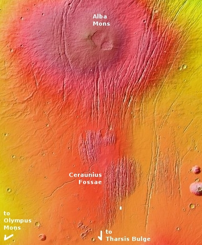 Overview of Ceraunius Fossae