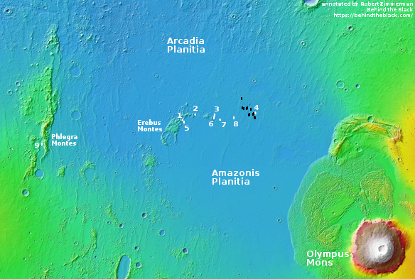 All locations photographed of the candidate landing region for SpaceX's planned Mars missions