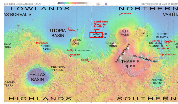 Global map of Mars matching water ice map