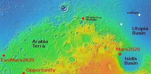 Location of scallops in Utopia Planitia
