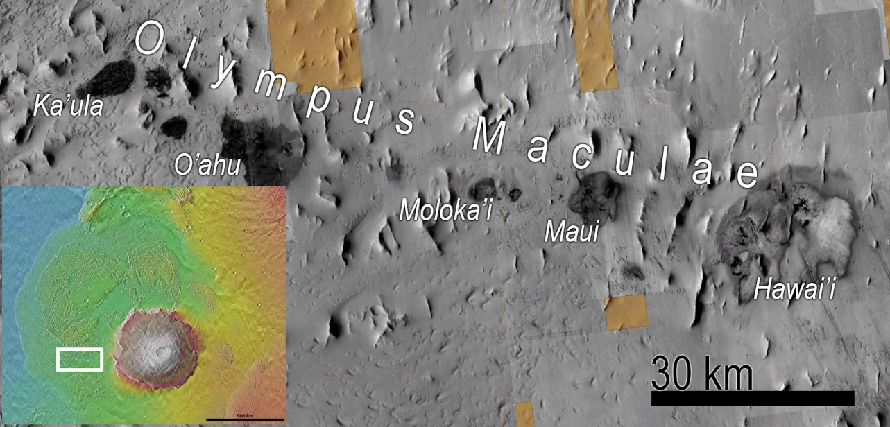 Olympus Maculae, land of dark splotches