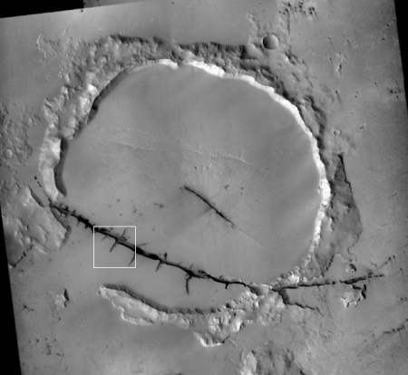 Mosiac of CTX images showing entire crater and crack
