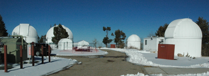 The main cluster of telescopes, on Mount Lemmon