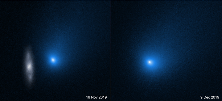 Comet 2I/Borisov taken by Hubble prior to and at its closest approach to Sun