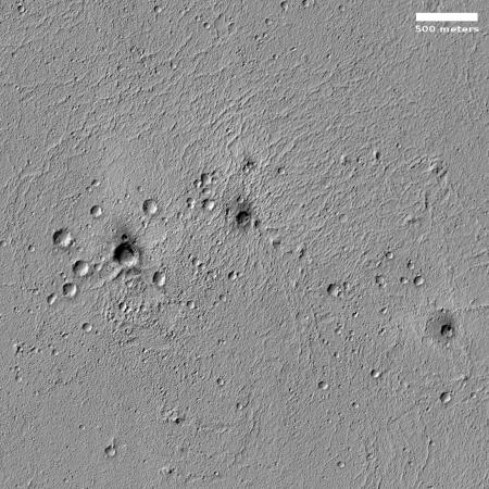 Darkened craters on Elysium Planitia