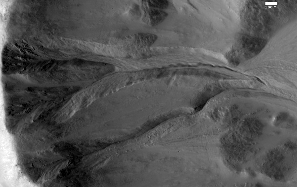Gully in crater on Mars
