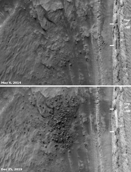 A Martian avalanche: before and after