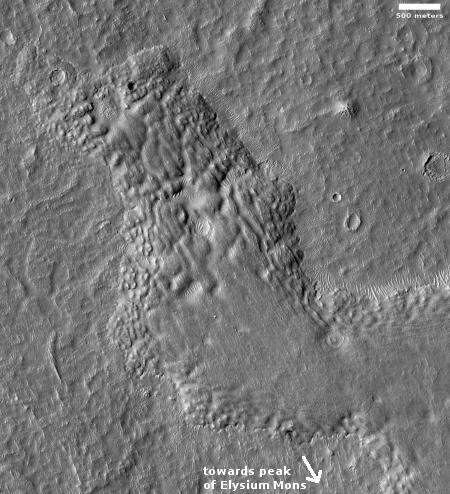 Lava flows off of Elysium Mons
