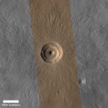 Bullseye crater on Mars