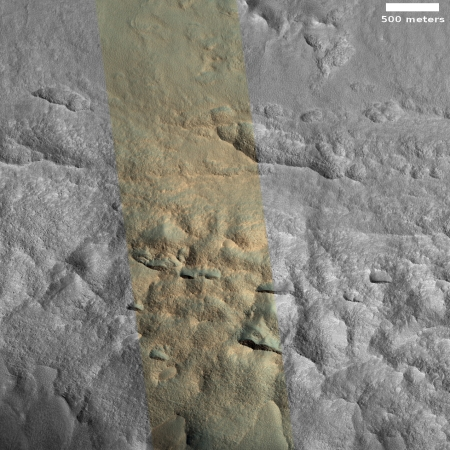 Indistinct ice scarps in crater