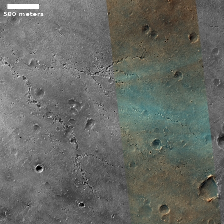 A string of pits suggesting a past underground river system on Mars