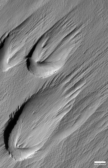 Wind-swept Martian depressions
