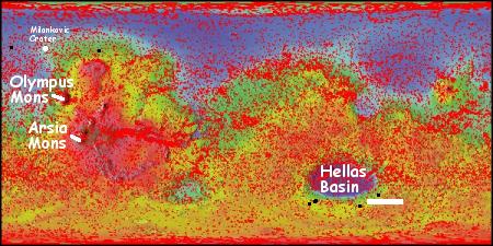 Overview of ice scarp locations on Mars