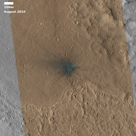 Fresh impact crater on Mars, in 2010