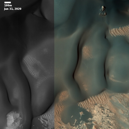The changing surface of dunes on Mars