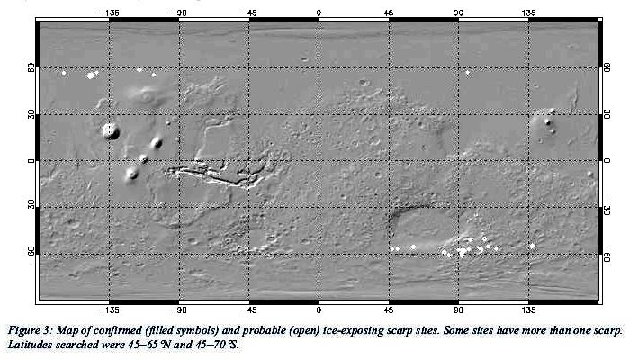 Global distribution of Martian ice scarps