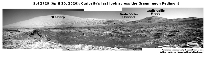 Curiosity's last look across the Greenheugh Pedimont