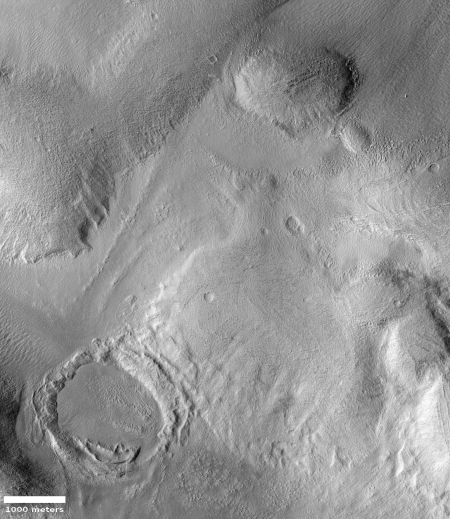 Icy glaciers in the Phlegra Mountains of Mars