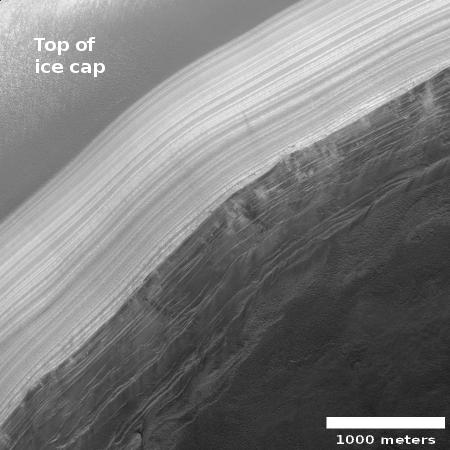The scarp face of the Martian north polar ice cap
