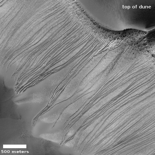Dune slope, with grooves, in Russell Crater