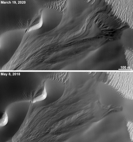 Seasonal changes in Martian dune gully