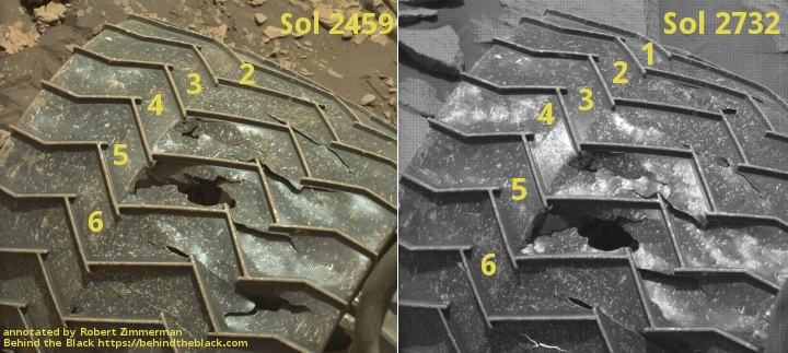 Comparison of wheel damage on Curiosity