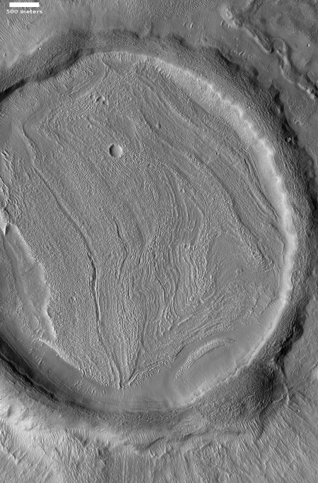 A relaxed crater on Mars