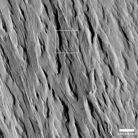 Eroding yardangs at the edge of Mars' largest volcanic ash field