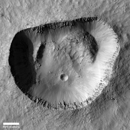 A mis-shapened crater on Mars