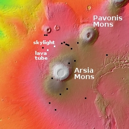 Overview map of Arsia Mons pits