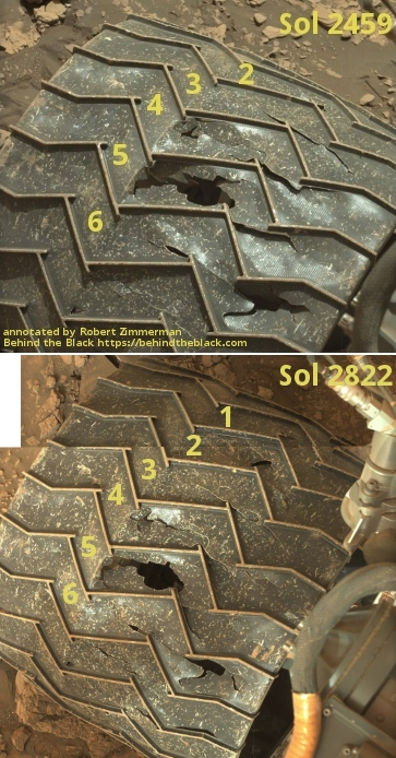 Damage on one of Curiosity's wheels over the past year