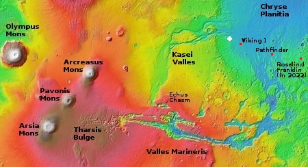 Overview map showing entire Kasei Valles