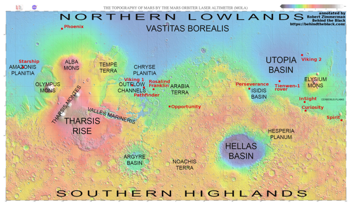 Mars map showing landers/rovers