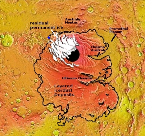 Map of Martian south pole