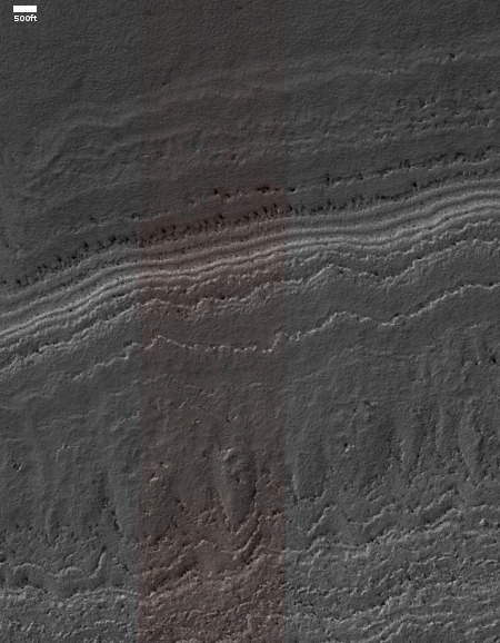 The edge of the Martian south pole layered deposits