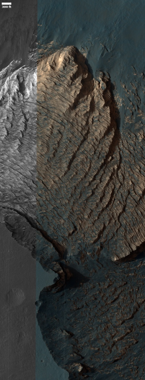 Strange flow (?) on floor of Valles Marineris