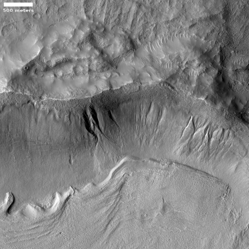Crater with gullies and glacial fill