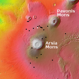 Overview of pits near Pavonis and Arsia Mons