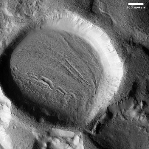 Glacial filled crater in Erebus Montes