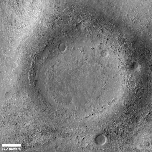 Strange crater on the edge of Argyre Basin