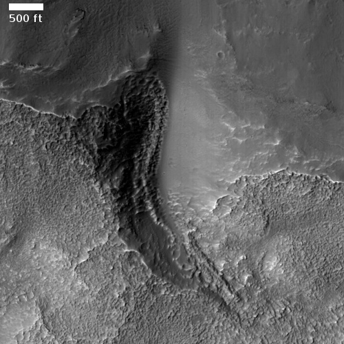 Gully in crater rim