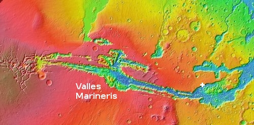 Wide view of all of Valles Marineris